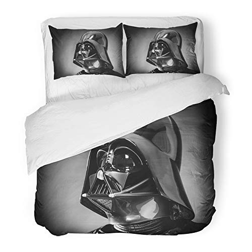 Emvency Bedding Duvet Cover Set Twin (1 Duvet Cover + 1 Pillowcase) San Benedetto Del Tronto Italy December Helmet of Replica The Costume Darth Vader Hotel Quality Wrinkle and Stain Resistant by Emvency
