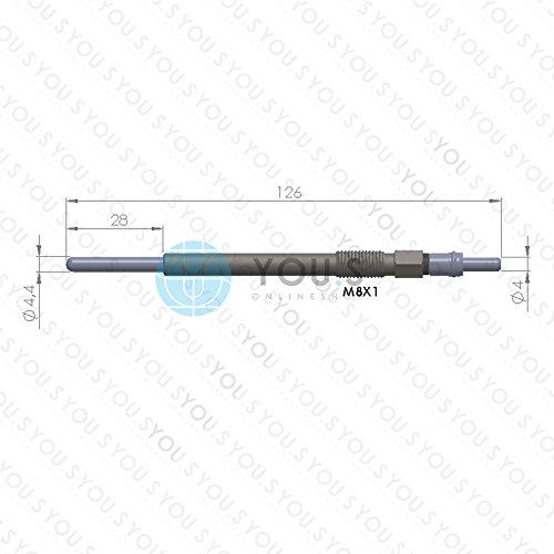 11,0 V 125,5 mm Spannung 4 St/ück YOU.S Original Gl/ühkerzen L/änge 5960F9