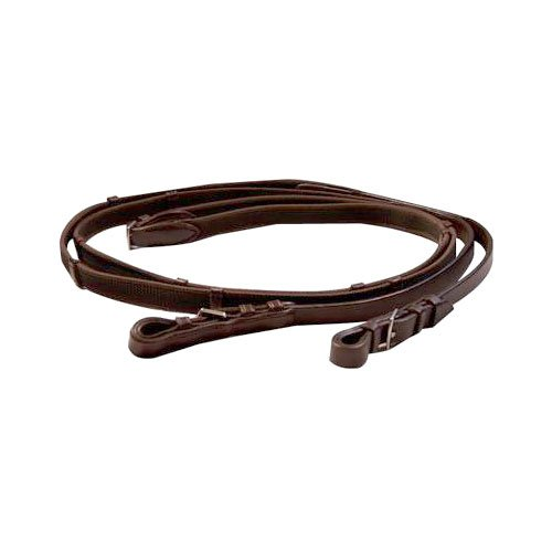 (Exselle Elite Woven Rubber Reins, Brown, 48-Inch)