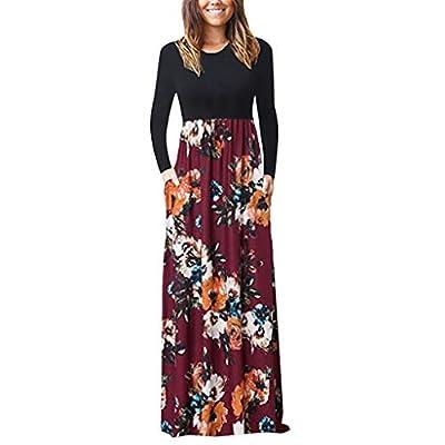 ZEFOTIM Dresses for Women Party Wedding, Women's Autumn Long Sleeve Loose Plain Maxi Dress Casual Long Dress with Pockets