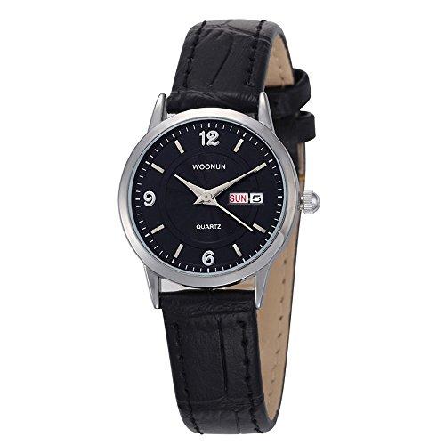 WOONUN Exquisite Women Watches Ladies Watches Genuine Leather Band Calendar Quartz Wrist Watches (Calendar Band Watch Leather Ladies)