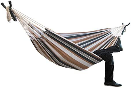 COSWE Double Hammocks 2 Person Cotton Fabric Travel Hammocks 550lbs Ultralight Garden Backyard Indoor Outdoor Use Camping Hammock Bed-Light Brown