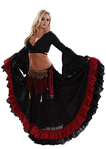Belly Dance Tribal Ruffle Skirt, Top & Fringe Belt Costume Set | Stars' Trail - Medium/Large (Belly Dance Costumes Large Ladies)