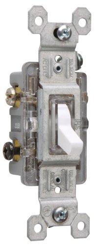 Legrand-Pass & Seymour 663WSLGCC10 Three Way Lighted Toggle Switch 15-Amp 120-volt, White