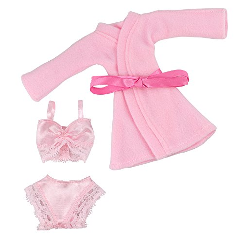 Underwear Doll Clothes Set - BARWA Handmade Pink Pajamas Nightgown Set Included Bathrobes Bra and Underwear for 11.5 Inch Girl Doll Xmas Gift