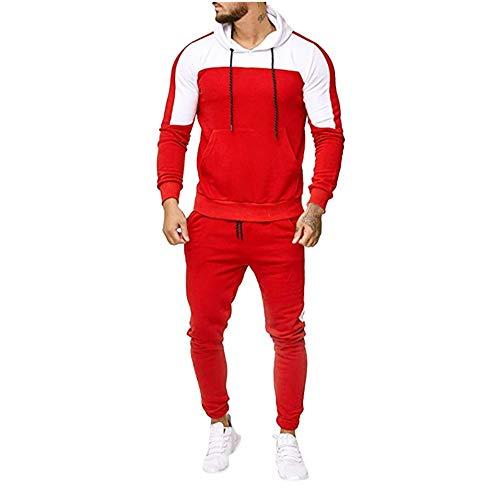 Men's Autumn Patchwork Sweatshirt Tops + Pants Sets Sports Suit Tracksuit Set (3XL, Red)