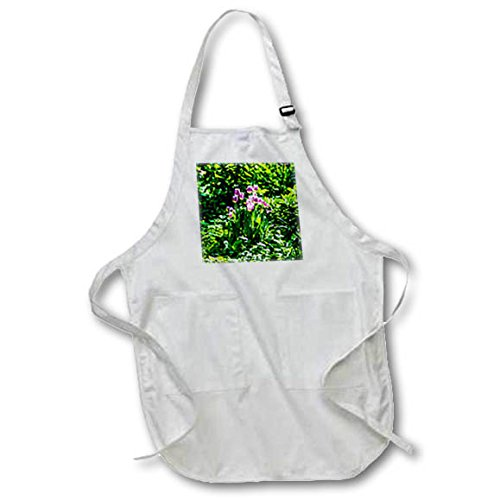 3dRose Alexis Photography - Flowers Tulip - Group of purple tulip flowers in a fresh green garden - Medium Length Apron with Pouch Pockets 22w x 24l (apr_270762_2)