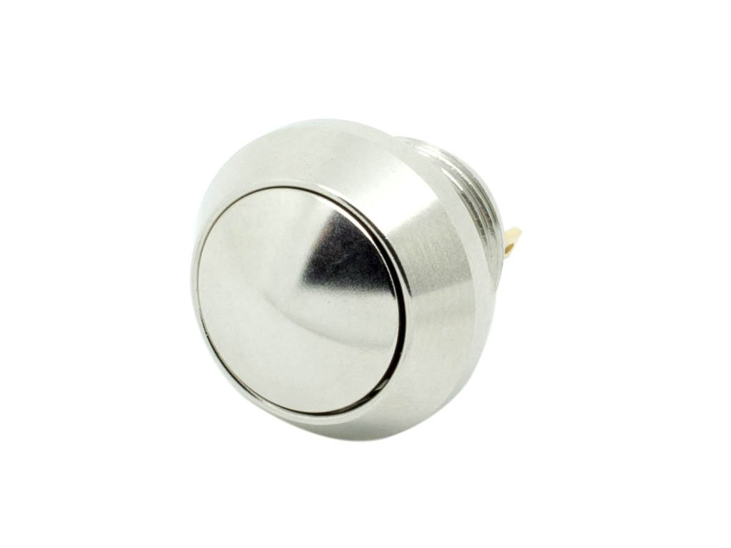 Alpinetech 12mm 1/2' Anti-Vandal Stainless Steel Momentary Metal Push Button Switch Pin Terminal Dome Button Normally Open 1NO