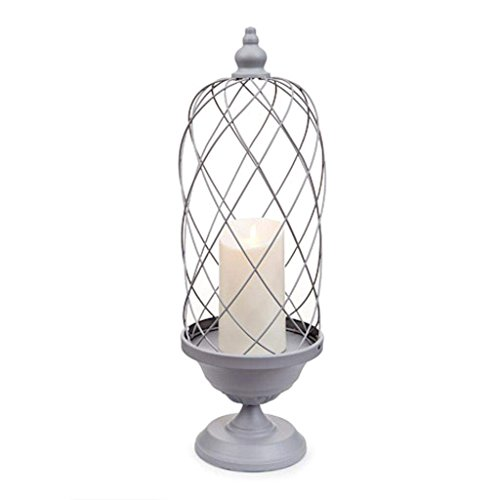 gray bird cage candle holder