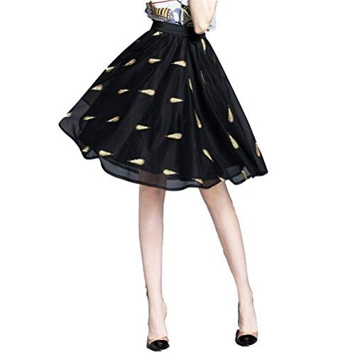 Fuweiencore Haute Vintage Noir 50 Tulle Jupon Taille Femme Elégant Brodé Années Jupe Longue Mi rnqOrfta
