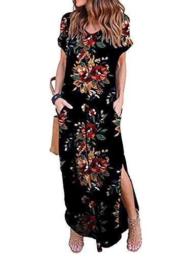 (AKEWEI Dresses for Women V Neck Floral Print Summer Split Maxi Dress Short Sleeve Long Dresses(Black(Red)