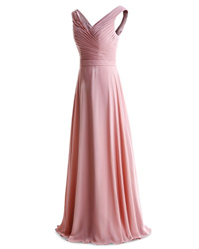 Length Dress Bridesmaid Lavender Floor Dress Ruched Evening Neck Chiffon Bridesmay V F1xqwTSXw4