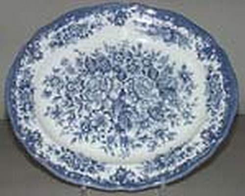 J & G Meakin England Royal Staffordshire Avondale Ironstone Blue Flowers Oval Serving Platter ()