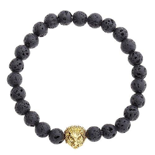 Jovivi Unisexe 8mm Bracelets d'énergie Elastique Perles Pierre de Lave Noir Tête de Lion Plaqué Or Buddha Lama