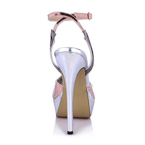 Mirror Sandals 14CM One Best Sole Shoes Heels PU Shoes Peep toe Rubber High Summer 4U Women's Platforms 3CM Buckle Pumps zxwxSC