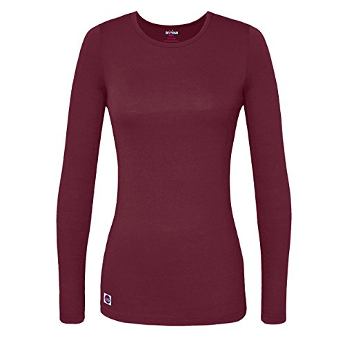 Sivvan Women's Comfort Long Sleeve T-Shirt / Underscrub Tee - S8500 - Burgundy - (Burgundy Long Sleeve Shirt)