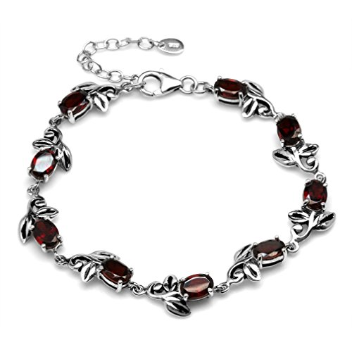 (9.27ct. Natural Garnet 925 Sterling Silver Leaf Vintage Inspired 7-8.5 Inch Adjustable Bracelet)