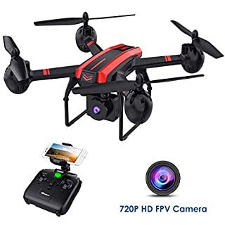 SANROCK X105W Drones with 720P HD Camera for Adults and Kids, WiFi Real-time Video Feed, App Control. Long Flying Time 17Mins, Altitude Hold, Gravity Sensor, Route Made, One Button Return,