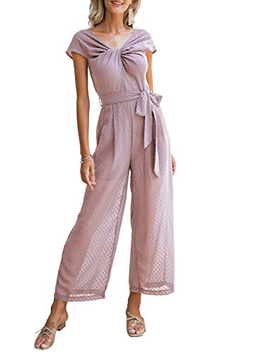 Miessial Women's Elegant Off Shoulder Summer Jumpsuit High Waist Wide Leg Pants Jumpsuit Nude Pink 4/6