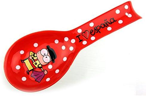 Lote de 2-Reposa cuchara con cuchara porcelana souvenir Toro ...