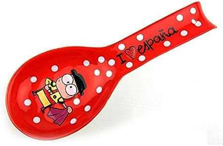 Lote de 2-Reposa cuchara con cuchara porcelana souvenir Toro Seville España: Amazon.es: Hogar