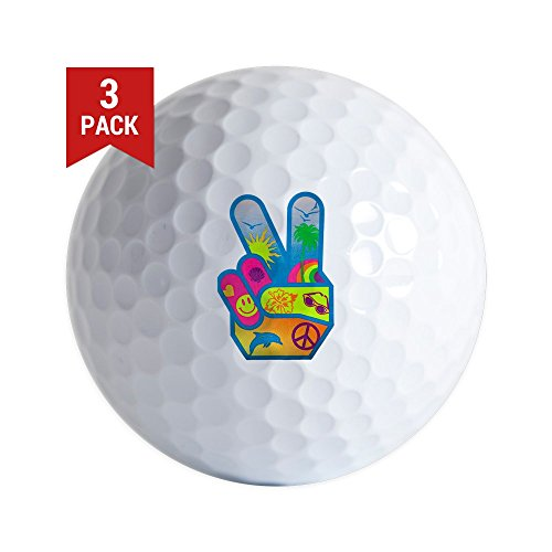 Golf Balls (Set of 3) Peace Sign Symbol Dolphin Smiley Face