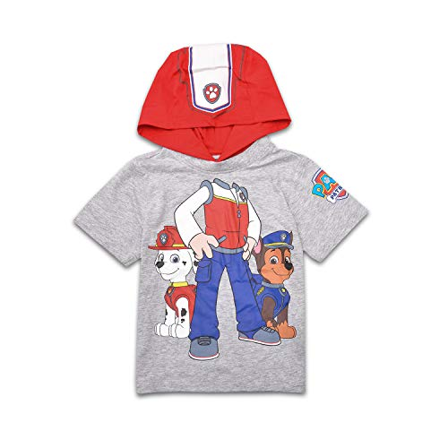 Nickelodeon Paw Patrol Boys Hooded Shirt Paw Patrol Costume Tee - Chase, Marshall, Ryder and Skye (Ryder, 2T) Gray -