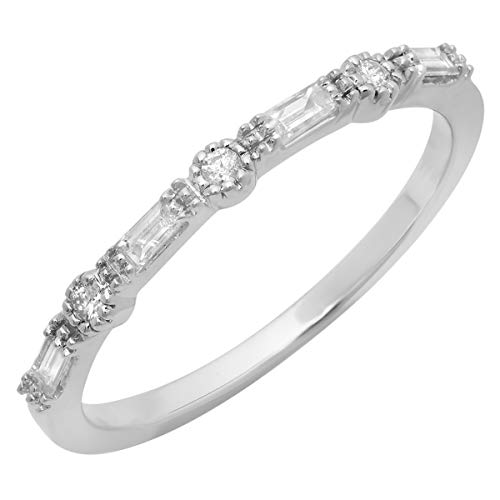 (Dazzlingrock Collection 0.15 Carat (ctw) 10K Round & Baguette Diamond Ladies Anniversary Wedding Band, White Gold, Size 6.5)