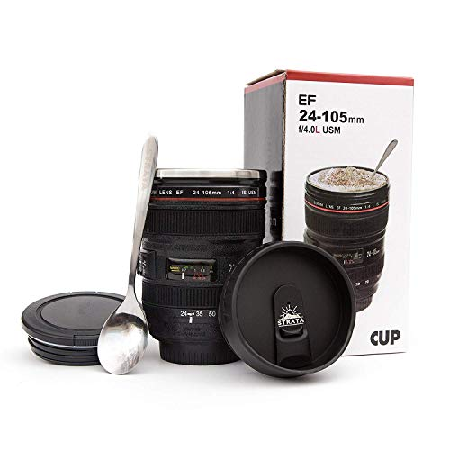 STRATA CUPS Camera Lens Coffee Mug -13.5oz, SUPER BUNDLE! (2 LIDS + SPOON) Stainless Steel Thermos, Sealed & Retractable…
