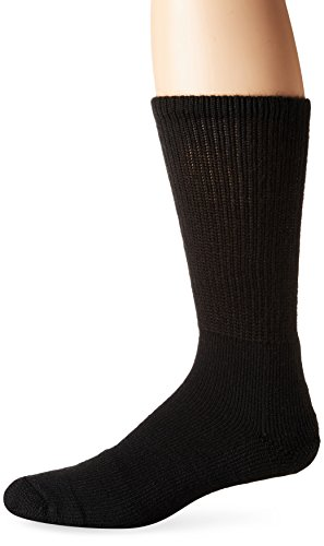 (Thorlos Men's TX Tennis Thick Padded Crew Socks, Solid Black, Extra Large)