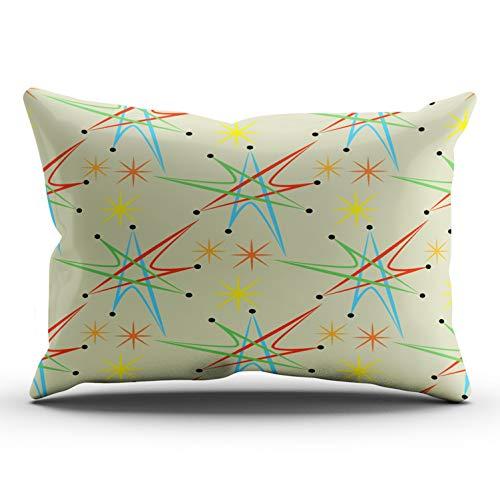 KAQIU Home Decoration Pillowcase Colorful Atomic Starburst Retro Multicolored Pattern Custom Lumbar Size 12x24 Inch Hidden Zipper Chic & Personality Rectangular One Sided Printed Design