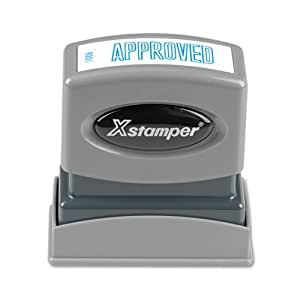 "Xstamper 1008 APPROVED, Pre Inked Laser Engraved Rubber Stamp, Blue Ink, Impression Size: 1/2"" x 1-5/8"""