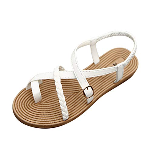 refulgence Fashion Flat Pure Knit Belt Buckle Ring Toe Female Sandals Casual Beach Roman Shoes(White,US: 7.5)