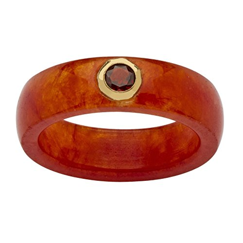 10K Yellow Gold Round Genuine Garnet and Red Genuine Jade Bezel Set Ring Size 6 (Jade Wedding)