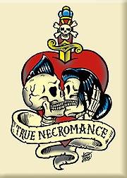 (Artist Vince Ray True Necromance Kissing Rockabilly Skulls Fridge Magnet)