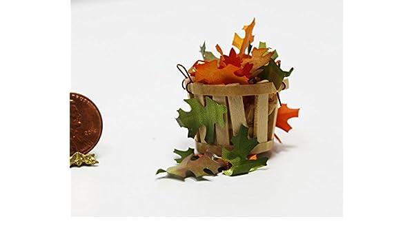 Dollhouse Miniature 1:12 Small Basket of Autumn or Fall Leaves