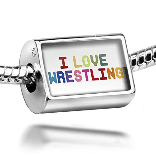 Sterling Silver Charm I Love Wrestling,Colorful - Bead Fit All European Bracele by NEONBLOND