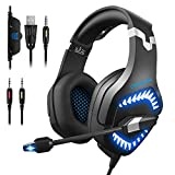 Stereo Gaming Headset, DIOWING,【Upgraded 7.1 Bass Surround Sound】Over Ear Headphones with Mic for PS4, PC, Xbox One Controller, LED Light, Soft Memory Earmuffs for Laptop Mac Nintendo Switch Games