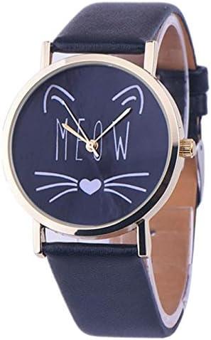 Flyalone? Cat Pattern Leather Band Analog Quartz Vogue Wrist Watch BK