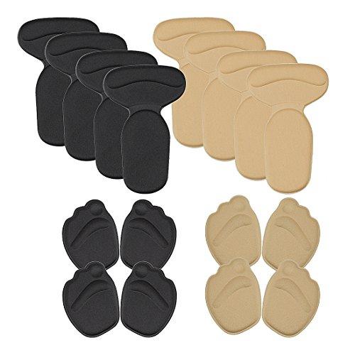 BMC 4 Pairs Comfortable Heel Insole & Forefoot Memory Foam Pad Shoe Cushion Set