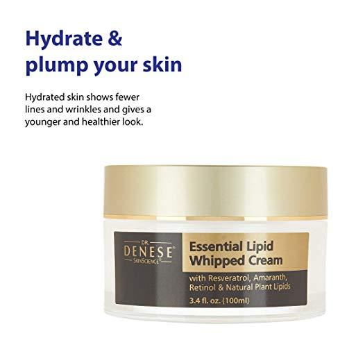 Dr. Denese Essential Lipid Whipped Infusion Cream with Organic Avocado, Rose Hip, Jojoba, Collagen & Resveratrol - Plumping Moisturization Youthful Skin Hydration - Paraben-Free, Cruelty-Free - 3.4oz