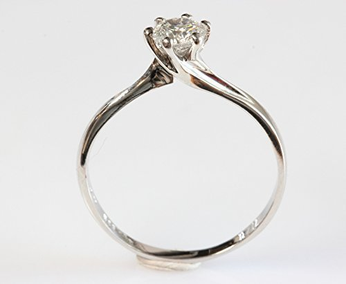 0.40 ct Diamond Solitaire Ring, Solitaire 14K White Gold Ring, Women Jewelry, Size Selectable