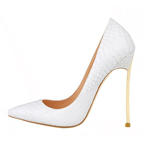 White VOCOSI Plus Party Size Women's Lines Heels Dress Thin Stiletto Snake Special High Pumps rO8vxqHrw