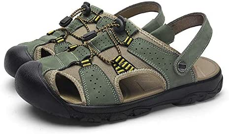 Mens PU Leather Sandals Summer Beach Shoes Closed Toe Walking Slip On Outdoor