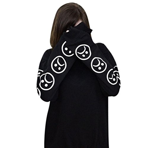 GBSELL-Womens-Girl-Long-Sleeve-Black-White-Sad-Faces-Pullover-Tops-Casual-Sport