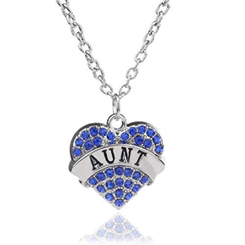 Crystal Daisy Necklace - Fun Daisy Blue Crystal Silver Chain Fashion Family Love Heart Necklace - Aunt