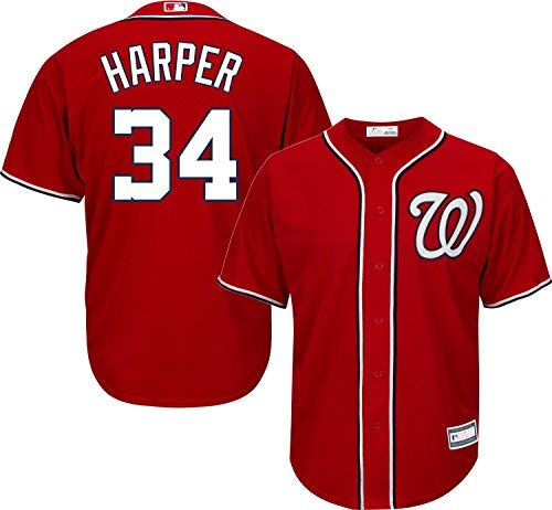 Outerstuff Bryce Harper Washington Nationals #34 Youth Alternate Jersey Red (Youth Large ()