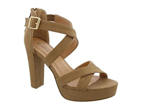 Top Moda Lovely-86 Women's Peep Toe Platform Chunky High Heel Closed Back Sandals (6.5, Tan)