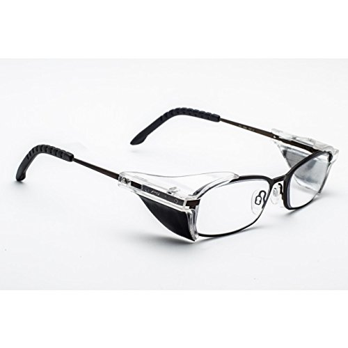 X-RAY RADIATION PROTECTIVE GLASSES IN DURABLE, STAINLESS STEEL FRAME WITH RUBBER GRIPS ON TEMPLE BAR, SPRING HINGES AND REMOVEABLE SIDE SHIELDS - ()