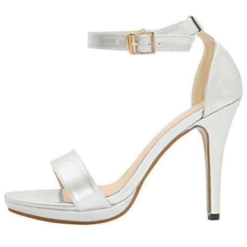 Allegra K Women's Ankle Strap Stiletto Heels Silver RU62YdBol